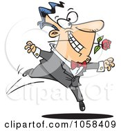 Royalty Free Vector Clip Art Illustration Of A Cartoon Romantic Man Dancing With A Rose