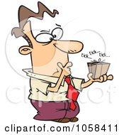 Royalty Free Vector Clip Art Illustration Of A Cartoon Indecisive Man Holding A Ticking Box