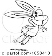 Cartoon Black And White Outline Design Of A Jumping Easter Bunny 1