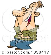 Royalty Free Vector Clip Art Illustration Of A Cartoon Man Laughing Hysterically