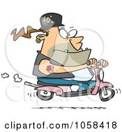 Royalty Free Vector Clip Art Illustration Of A Cartoon Biker Dude On APink Scooter by toonaday