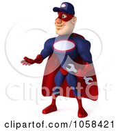 Royalty Free CGI Clip Art Illustration Of A 3d Super Auto Mechanic Presenting Left