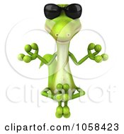 Royalty Free CGI Clip Art Illustration Of A 3d Gecko Wearing Shades And Meditating