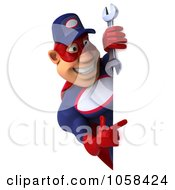 Royalty Free CGI Clip Art Illustration Of A 3d Super Auto Mechanic With A Blank Sign 4
