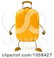 Royalty Free CGI Clip Art Illustration Of A 3d Yellow Rolling Suitcase Character