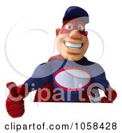 Royalty Free CGI Clip Art Illustration Of A 3d Super Auto Mechanic With A Blank Sign 1
