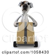 Royalty Free CGI Clip Art Illustration Of A 3d Jack Russell Terrier Delivering Boxes