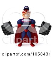 Royalty Free CGI Clip Art Illustration Of A 3d Super Auto Mechanic Lifting A Heavy Barbell 1