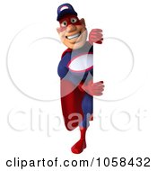 Royalty Free CGI Clip Art Illustration Of A 3d Super Auto Mechanic With A Blank Sign 3