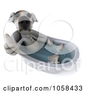 Royalty Free CGI Clip Art Illustration Of A 3d Jack Russell Terrier Holding A Thumb Up In A Tub