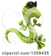 Royalty Free CGI Clip Art Illustration Of A 3d Gecko Wearing Sunglasses And Meditating