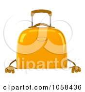 Royalty Free CGI Clip Art Illustration Of A 3d Yellow Rolling Suitcase Character Over A Blank Sign