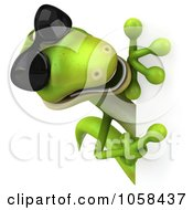 Royalty Free CGI Clip Art Illustration Of A 3d Gecko Holding A Blank Sign 3