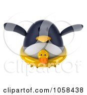 Royalty Free CGI Clip Art Illustration Of A 3d Penguin Wearing An Inner Tube And Flying