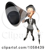 Royalty Free CGI Clip Art Illustration Of A 3d English Businessman Shouting In A Megaphone