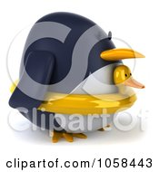 Royalty Free CGI Clip Art Illustration Of A 3d Penguin Wearing A Ducky Inner Tube 2