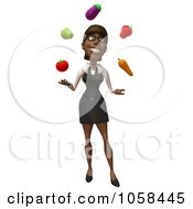Royalty Free CGI Clip Art Illustration Of A 3d Black Businesswoman Juggling Produce 1 by Julos