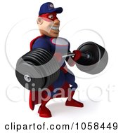 Royalty Free CGI Clip Art Illustration Of A 3d Super Auto Mechanic Lifting A Heavy Barbell 2