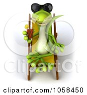 Royalty Free CGI Clip Art Illustration Of A 3d Gecko Sipping A Beverage And Resting On A Lounge Chair 1