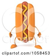Royalty Free CGI Clip Art Illustration Of A 3d Hot Dog Character Facing Forward