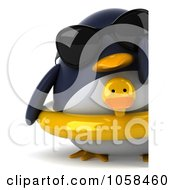 Royalty Free CGI Clip Art Illustration Of A 3d Penguin With An Inner Tube Shades And A Blank Sign 1
