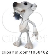 Royalty Free CGI Clip Art Illustration Of A 3d Jack Russell Terrier Talking On A Cellular Phone