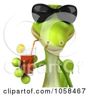 Royalty Free CGI Clip Art Illustration Of A 3d Gecko Sipping A Beverage And Wearing Shades 1