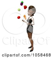 Royalty Free CGI Clip Art Illustration Of A 3d Black Businesswoman Juggling Produce 2 by Julos