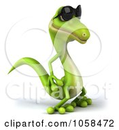 Royalty Free CGI Clip Art Illustration Of A 3d Gecko Character Wearing Shades And Facing Right