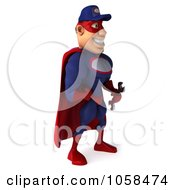 Royalty Free CGI Clip Art Illustration Of A 3d Super Auto Mechanic Facing Right