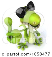 Royalty Free CGI Clip Art Illustration Of A 3d Gecko Character Wearing Shades And Giving A Thumbs Up