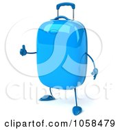 Royalty Free CGI Clip Art Illustration Of A 3d Blue Rolling Suitcase Character Holding A Thumb Up