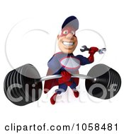 Royalty Free CGI Clip Art Illustration Of A 3d Super Auto Mechanic Lifting A Heavy Barbell 3