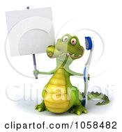 Royalty Free CGI Clip Art Illustration Of A 3d Crocodile With A Blank Sign And Toothbrush