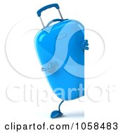Royalty Free CGI Clip Art Illustration Of A 3d Blue Rolling Suitcase Character Pointing At A Blank Sign