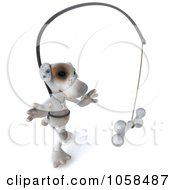 Royalty Free CGI Clip Art Illustration Of A 3d Jack Russell Terrier Chasing A Bone On A Stick 2