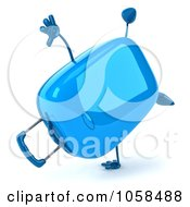 Royalty Free CGI Clip Art Illustration Of A 3d Blue Rolling Suitcase Character Doing A Cartwheel