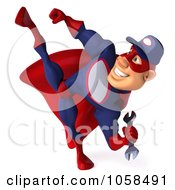 Royalty Free CGI Clip Art Illustration Of A 3d Super Auto Mechanic Kicking