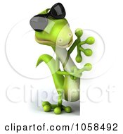 Royalty Free CGI Clip Art Illustration Of A 3d Gecko Character Wearing Shades And Holding A Blank Sign 2