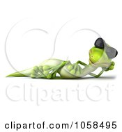 Royalty Free CGI Clip Art Illustration Of A 3d Gecko Character Wearing Shades And Relaxing 1