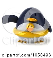 Royalty Free CGI Clip Art Illustration Of A 3d Penguin Wearing A Ducky Inner Tube 3