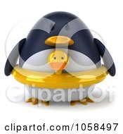 Royalty Free CGI Clip Art Illustration Of A 3d Penguin Wearing A Ducky Inner Tube 1