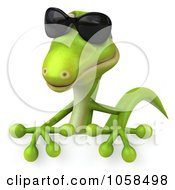 Royalty Free CGI Clip Art Illustration Of A 3d Gecko Holding A Blank Sign 2