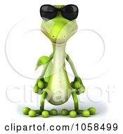 Royalty Free CGI Clip Art Illustration Of A 3d Gecko Character Wearing Shades