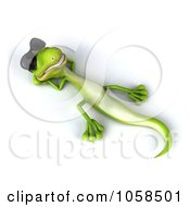 Royalty Free CGI Clip Art Illustration Of A 3d Gecko Character Wearing Shades And Relaxing 2