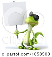 Royalty Free CGI Clip Art Illustration Of A 3d Gecko Holding A Blank Sign 1