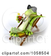 Royalty Free CGI Clip Art Illustration Of A 3d Gecko Sipping A Beverage And Resting On A Lounge Chair 2