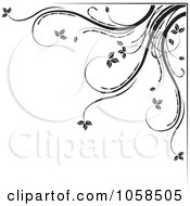 Royalty Free Vector Clip Art Illustration Of A Black And White Ornate Floral Corner Border Design Element 5