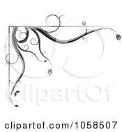 Royalty Free Vector Clip Art Illustration Of A Black And White Ornate Floral Corner Border Design Element 1 by MilsiArt #COLLC1058507-0110