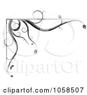 Royalty Free Vector Clip Art Illustration Of A Black And White Ornate Floral Corner Border Design Element 1